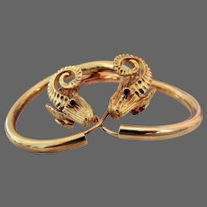 19 Grams, 18K YG Ilias Lalaounis Rams Head Hoop Earrings