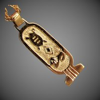 14K YG Egyptian Hieroglyth Cartouche Pendant from the Republic of South Africa