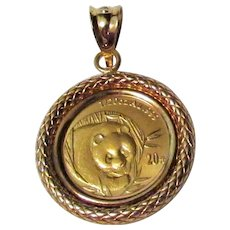 Chinese coin jewelry ruby lane 999k chinese panda coin pendant with 18k yg setting mozeypictures Choice Image