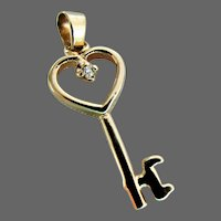 14K YG Golden Heart  Key Charm Pendant with Diamond