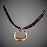 14K YG Slide Pendant on 6-Cord Leather Necklace by JACMEL
