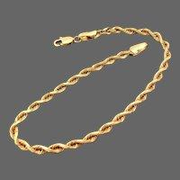 "14K YG Rope Chain Bracelet, 7"" Closed"