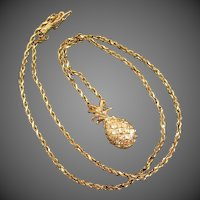 5.9 Grams, 14K YG Pineapple Pendant and Chain Necklace