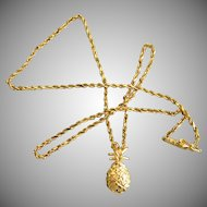 14K YG Pineapple Pendant and Chain Necklace