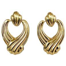 14K YG Door Knocker Earrings