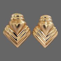 7.4 Grams 14K YG Large Textured Gold Earrings