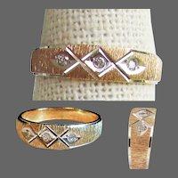 14K Brushed YG  Ring with Diamonds Size 7 1/2