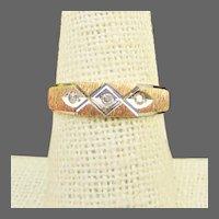 14K Brushed YG Band Ring with Diamonds Size 7 1/2