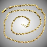 """14K YG Italian Rope Chain Necklace 20"""", 21.5 Grams"""