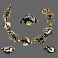 14K YG Reverse Carved and Hand Painted Essex Crystal Bracelet with Horses, Riders & Hunting Dogs