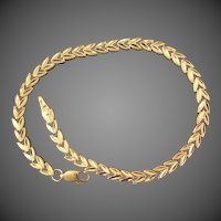 "14K YG Chevron Link Bracelet 8 3/8"" Closed"