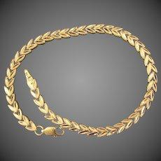 "14K YG Chevron Link Bracelet 8 3/8"" Closed"