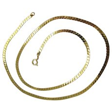 13.4 Grams, 14K Italian Herringbone Chain Necklace 20 Inches
