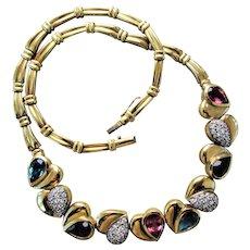 48.3 Grams, 18K YG Gemstone Necklace