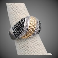 6.3 Grams 14K WG Ring with Black & White Diamonds Size 5 3/4 -  6