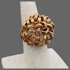 13.4 Grams, 18K Italian  YG Free Form Open Ribbon Weave Ring, Size 7