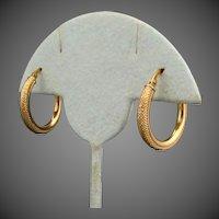 14K YG Textured Hoop Earrings