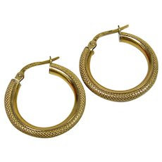 14K YG Textured Hoop Earrings