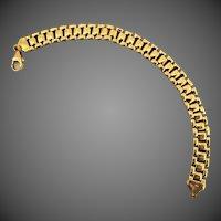 16.4 Grams, 14K YG Italian Panther Link Bracelet