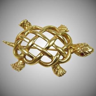 8.6 Grams, 14K YG Turtle Pin