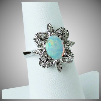 14K WG Opal and Diamond Ring Size 6