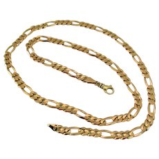 10K YG Italian Figaro Necklace 22 3/4 Inches Long