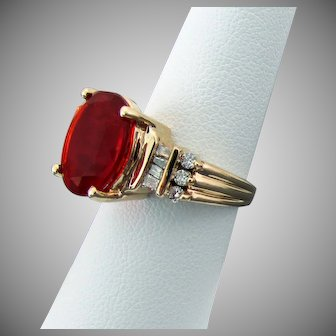 14K YG Red Mexican Fire Opal Ring