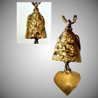 18K YG Hindu Bell Charm with Heart Clapper