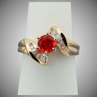 14k YG Red Mexican Fire Opal & Diamond Ring, Size 7