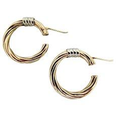 6.6 Grams, 14K YG & WG Italian Twisted Hoop Earrings