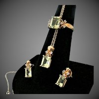 10K YG Prasiolite (Green Quartz)  Set with Ring, Earrings & Pendant with Chain