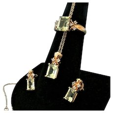 10K YG Prasiolite (Green Quartz)  Set with Ring, Earrings & Pendant with Chain