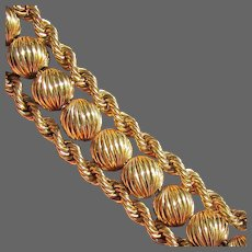 36.7 Grams, 14K YG Bracelet with Double Ropes & Fluted Beads