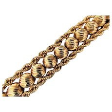 36.7 Grams, 14K YG Bracelet with Fluted Beads