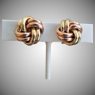 9.3 Grams, 18K YG & RG Love Knot Earrings