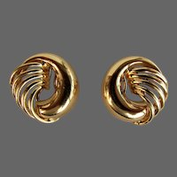 9.6 Grams, 18K YG Italian Earrings with Feathered Ribs Design