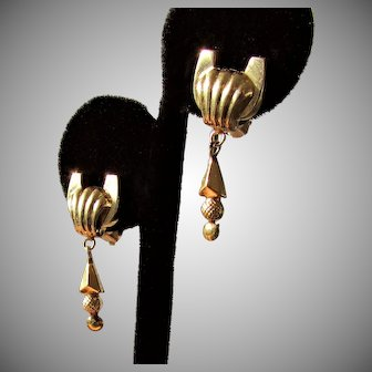 14K YG Dangle Nouveau Style Earrings