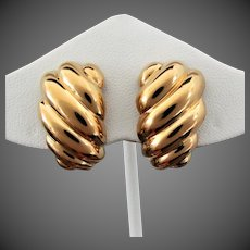 7.7 Grams, 18K YG Large Swirled Italian Earrings