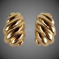 7.7 Grams, 18K YG Large Swirled Italian Earrings