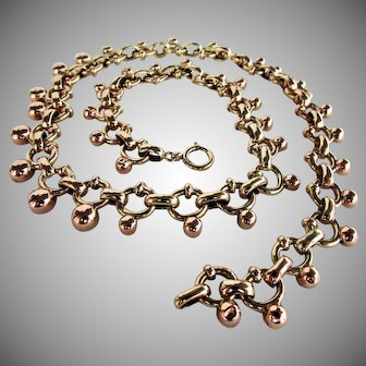 46.3 Grams, 14K YG & RG Austrian Necklace 20 Inches