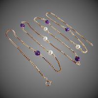 20.6 Grams, 14K YG Necklace with Amethyst & Cultured Pearl Beads and Box Chain, 32 1/2 Inches Long