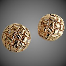 8.7 Grams, 14K Basket Weave Dome Earrings
