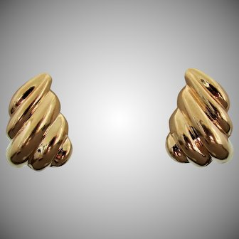 14K YG Swirled Gold Earrings