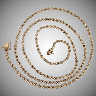 "29.4 Grams, 14K YG Rope Chain Necklace 30"" Long"