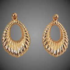 14K YG Large Earrings with Stud & Jacket