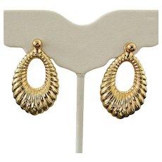 14K YG Large Earrings with Stud & Jacket