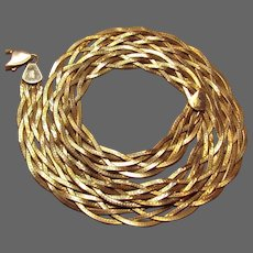 18.6 Grams, Italian 14K YG Braided 6-Strand Herringbone Necklace, 18 1/2""