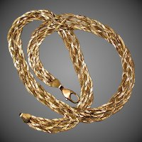 18.6 Grams, Italian 14K YG Braided Herringbone Necklace, 18 1/2""