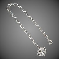14K WG Italian Link Bracelet with Double Sided Filigree Heart Charm