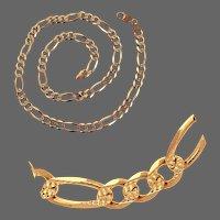 "55.9 Grams, 14K YG Reversible Fancy Figaro Link Necklace 23"""